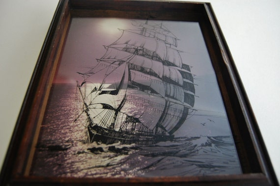 CLEARANCE Vintage Sailing Ship Shadowbox Art