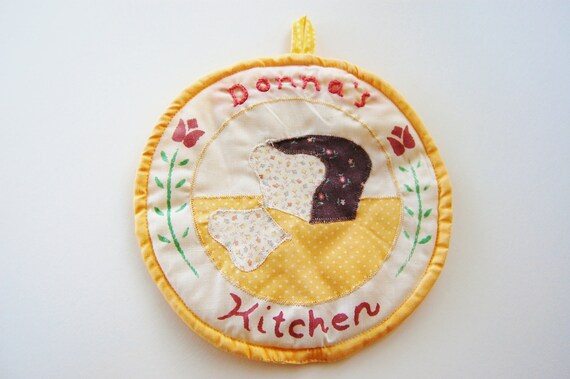 RESERVED FOR DEE Vintage Embroidered Kitschy Yellow Potholder