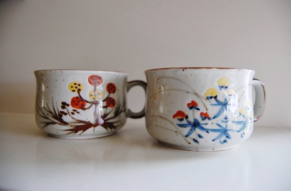 Vintage Speckled Stoneware Floral Mugs Set of 2
