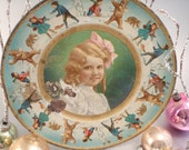 Antique Tin Christmas Plate with a Little Goldilocks Girl Bears Snow