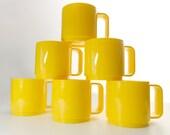 Vintage Melamine Mugs Cups Bright Yellow