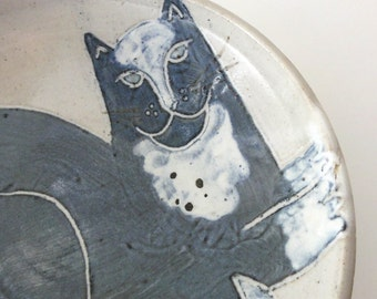 Vintage Cat Bowl Studio Pottery