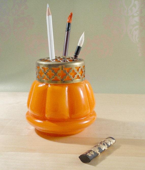 Orange Glass Flower Frog Vase