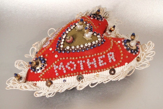 Antique Heart Shaped Pin Cushion Love to Mother