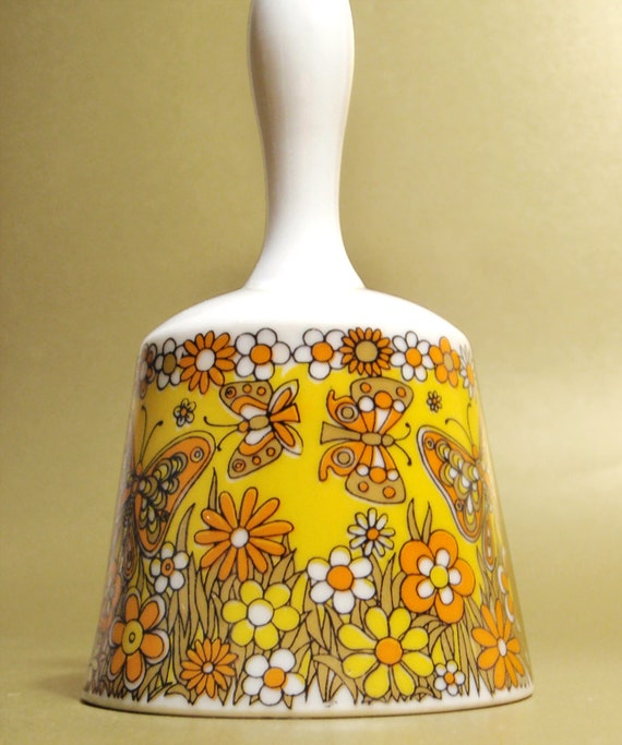 Vintage Ceramic Dinner Bell with Flowers and Butterflies