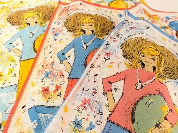 RESERVED: Vintage  Handkerchiefs Teen Girl 60s Groovy