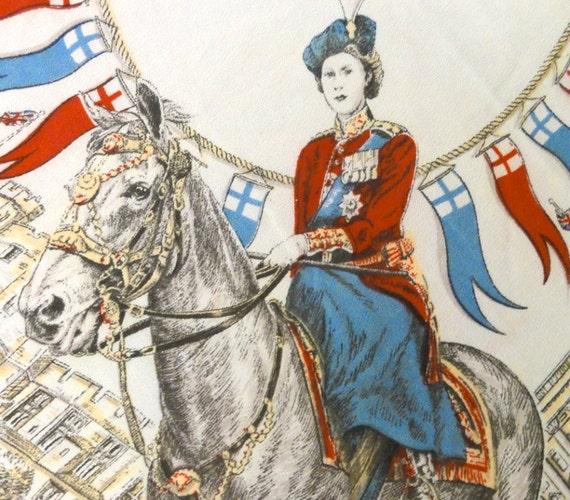 Vintage Queen Elizabeth Coronation Souvenir Scarf