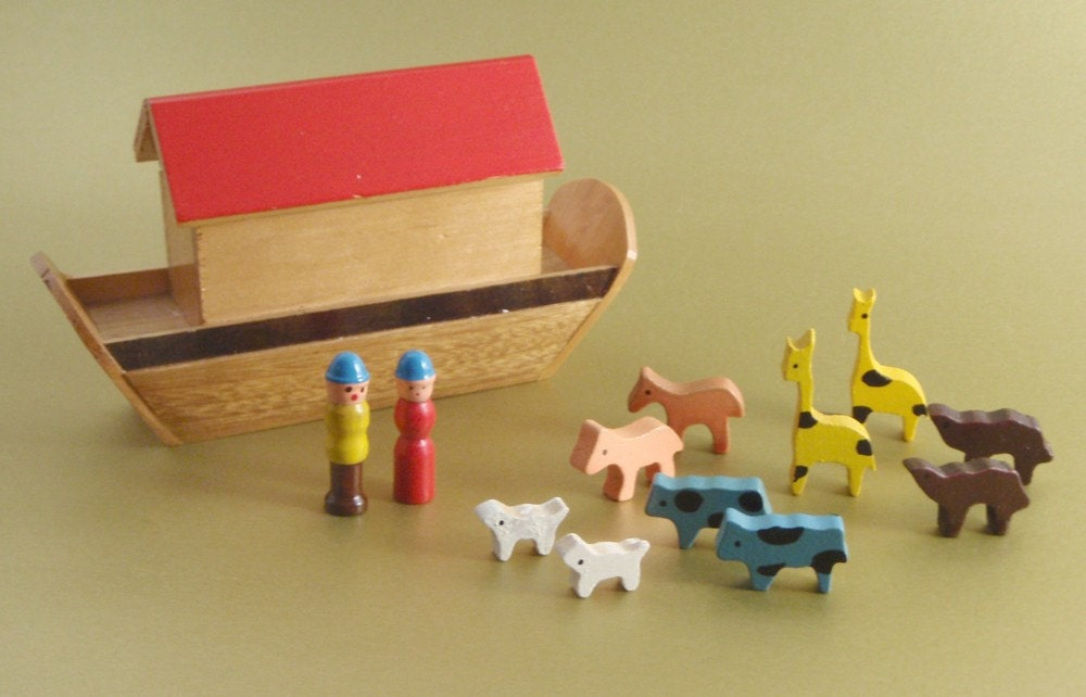 Little Wooden Noah S Ark By Shackman Toys By Chixycoco On Etsy