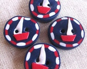 Buttons Nautical Sailboats navy red white 4 handmade clay buttons