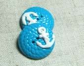 2 Handmade Nautical Clay Buttons-anchor