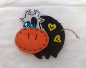 Love Cow - Wool Felt embellishment / hair bobby pin / snap clip / barrette  / alligator clip / ponytail / pin brooch / keychain
