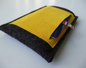 iPhone cover All-In-One Wallet 100% pure German Wool Felt Charcoal Ultrasuede Pocket Yellow