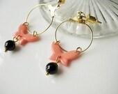 SALE Orange Butterfly with Balck Beads Earrings