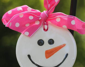 Whimsy, Girl snowman, hand painted, ceramic, christmas ornament, snowman lovers ornament, snowman ornament, snowman face ornament