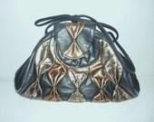 Vintage Leather Blue Metallic Bow Purse