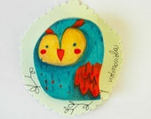 colorful owl, wooden brooch hand made in Italy