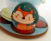 Artistic illustrated pin. Lovely funny cartoon fox illustration. Summer collection