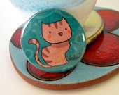Artistic illustrated pin. Lovely funny cartoon cat illustration. Summer collection brooch