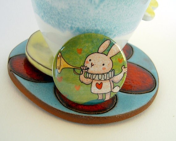 Artistic illustrated pin. White rabbit plays the horn. Alice in wonderland tale illustration. Summer collection