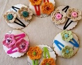 2 Pcs   Crocheted Flower On Clip Pins