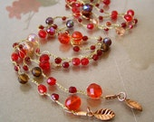 Free Shipping-Beautiful Knitting Jewelry, Long Necklace, Red Crystal Beads, Gold Tone, Gift For Women. Holiday Gift