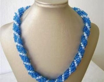 Spiral Elegant  Blue Necklace, Holiday Gift. Gift For Mom, Gift for women, Beadwork Necklace,