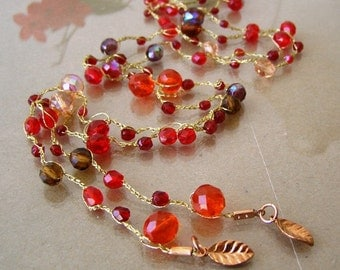 Beautiful Knitting Jewelry, Long Necklace, Red Crystal Beads, Gold Tone, Gift For Women. Holiday Gift