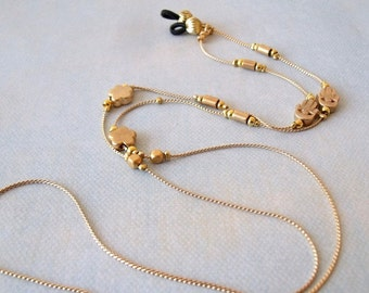 Handmade Gold Eyeglass Holder, Gold Eyeglass Chain Necklace, Gold Lanyard, Gift For Mom, Sunglasses Chain, Beaded Lanyard,Eyeglasses Holder