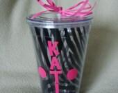 Personalized Tumbler Black Zebra Stripe 24 oz Straw Name in Hot Pink