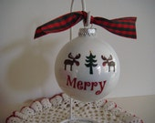 "Christmas ""Moose"" White Ornament with Green Christmas Tree Design Tied with Red and Green Gingham Ribbon"