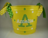 Lemon and Lime and White Personalized Bucket Tied with Polka Dot Streamer Ribbons
