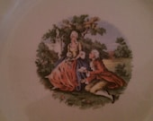 FREE SHIPPING Set of 6 Vintage Cronin China Ohio Colonial Couple Plates Gold Trimmed