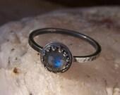 Labradorite 6mm Rose Cut Sterling Silver Ring - Midnight - Crown Bezel Stacking Ring