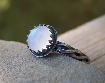 Rose Cut Moonstone Sterling SIlver Ring - Your Choice - White Grey or Peach