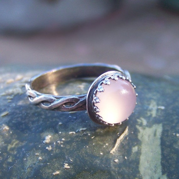 Blushing - Glowing Pink Chalcedony set in Sterling Silver - Stackable