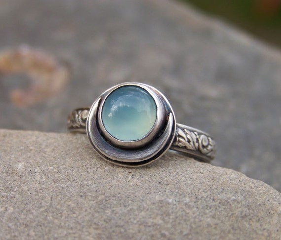 Blue Moon Cresent - Sterling Silver and Chalcedony Ring - 3 stone choices