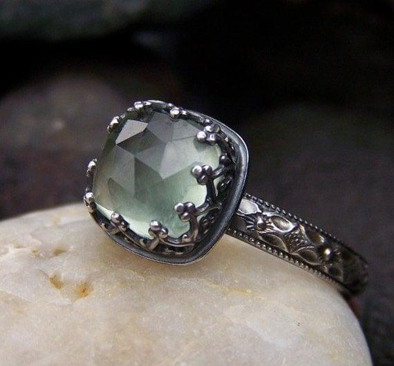 RESERVED - Elven Princess Ring - 8mm Rose Cut Prehnite in Heart Crown Bezel