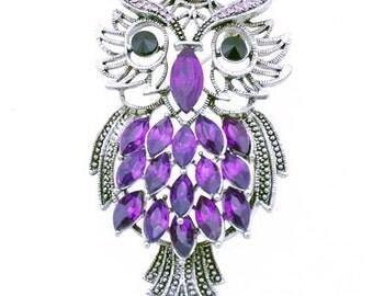 Vintage Style Amethyst Owl Pin Brooch 1001082