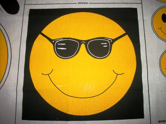 FABRIC SMILEY FACE Uses Tote Bag Pillow & Appliques Gift ideas for sunny sunshine happy days