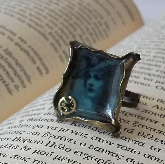 Steampunk Lady in Azure Blue ring FREE shipping