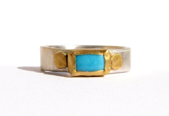 Gemstone Ring - Turquoise Ring - 24k Solid Gold and Silver Ring -  Bezel Set Ring - Stacking Ring - Gold Ring.