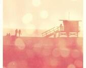 "beach sunset photo ""Seaside Memories"". Santa Monica lifeguard stand romantic summer vacation silhouette - fine art print 5x5"