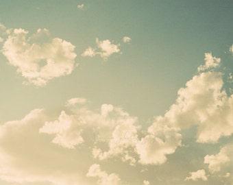 cloud print, blue nursery wall art, cloud photography, kids room decor, heaven, angel art, yoga studio decor, blue sky photo, 24x36 poster