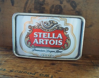 Belt Buckle - Recycled Beer Can - Stella Artois