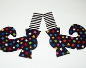 Iron On Fabric Applique Black Stripe Stocking STARS WITCH SHOES