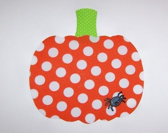Iron On Fabric Applique PUMPKIN with SPIDER BUTTON