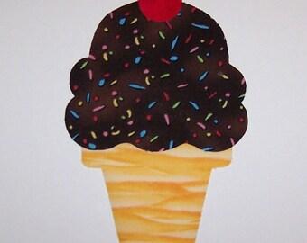 ron On Fabric Applique Chocolate Sprinkle Cake Cone ICE CREAM