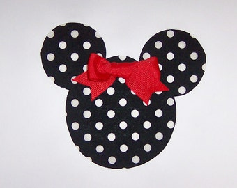 Iron On Applique BLACK And White Polka Dots MINNIE MOUSE