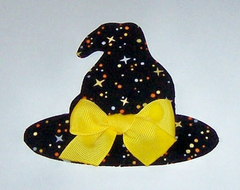 Iron On Fabric Applique WITCH HAT with Yellow Bow And Witch SHOES Black Stripe Stockings With Yellow Bows