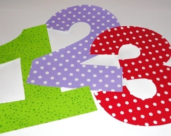 Iron On Fabric Applique BIRTHDAY NUMBERS....U Pick Number...Fabric Color....